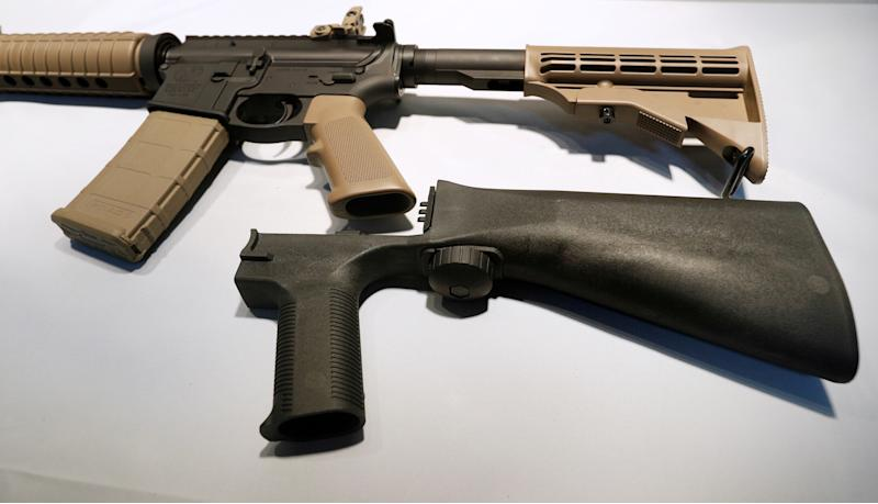 A bump stock replaces the standard stockof a semi-automatic rifle to increase the firing rate.