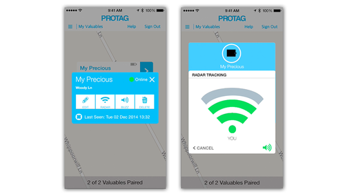 ProTag Bluetooth tracking app screenshots