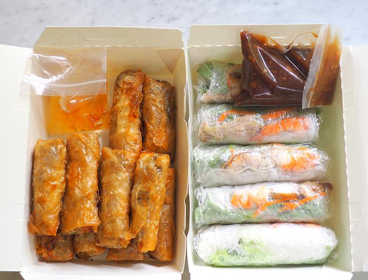 Your orders for the rolls are packed neatly with their respective sauces