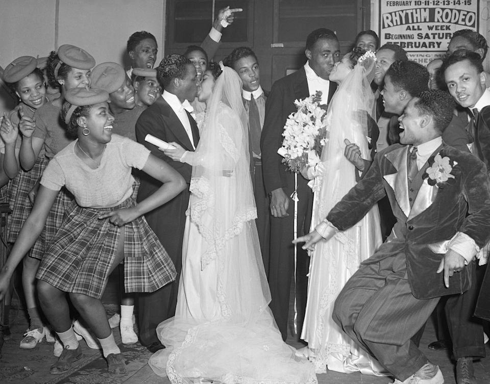 <p>This stylish celebration was one for the ages: a double wedding that took place at a dance hall. </p>