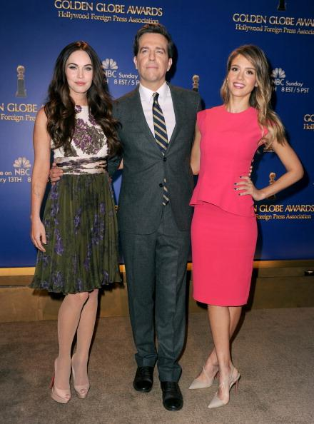 LOS ANGELES, CA - DECEMBER 13:  (L-R) Actors Megan Fox, Ed Helms, and Jessica Alba pose onstage during the 70th Annual Golden Globes Awards Nominations at the Beverly Hilton Hotel on December 13, 2012 in Los Angeles, California.  (Photo by Kevin Winter/Getty Images)