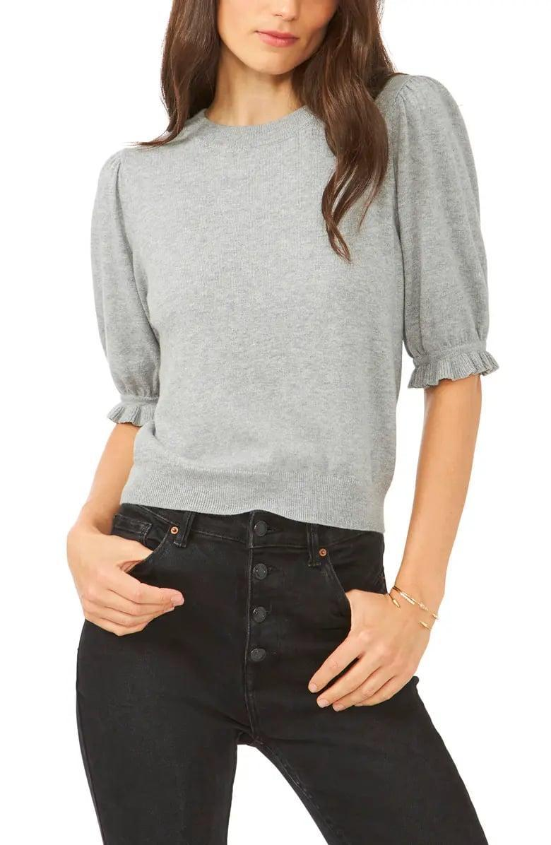<p>The slim-fitting <span>1.State Puff Sleeve Sweater</span> ($69) comes in gray, black, and camel making it a classic choice for a polished end result. </p>