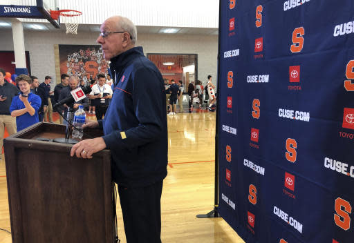 Syracuse coach Jim Boeheim speaks Friday, Oct, 11, 2019, at the teams annual media day in Syracuse, N.Y. The team is ahead of schedule after a summer trip to Italy. They are to open the season Nov. 6, 2019, at home against reigning national champion Virginia. (AP Photo/John Kekis)