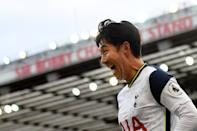 Tottenham Hotspur's South Korean striker Son Heung-Min celebrates scoring his team's fourth goal during the English Premier League football match between Manchester United and Tottenham Hotspur at Old Trafford in Manchester, north west England, on October 4, 2020. (Photo by Oli SCARFF / AFP) / RESTRICTED TO EDITORIAL USE. No use with unauthorized audio, video, data, fixture lists, club/league logos or 'live' services. Online in-match use limited to 120 images. An additional 40 images may be used in extra time. No video emulation. Social media in-match use limited to 120 images. An additional 40 images may be used in extra time. No use in betting publications, games or single club/league/player publications. / (Photo by OLI SCARFF/AFP via Getty Images)