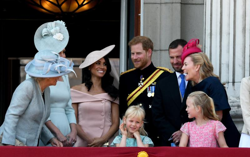 Sharing a laugh with the rest of the royal family.  (Anwar Hussein via Getty Images)