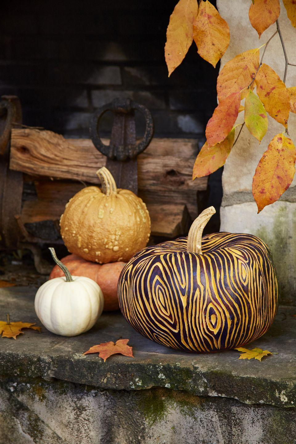 <p>Adding paint to an etched faux bois (the artistic imitation of wood) pumpkin helps the colors pop adding fun flair to this sophisticated pumpkin. Display on a covered porch next to the door or on a table.<strong><br></strong></p><p><strong><strong>Make the pumpkins: </strong></strong>Lightly sketch a faux bois pattern on a pumpkin with a pencil. Use a linoleum carving tool to etch out the pattern. Once complete, paint unetched part of the pumpkin with acrylic paint. If you get any paint in the etched grain you can remove it up with the carving tool once dry.</p>