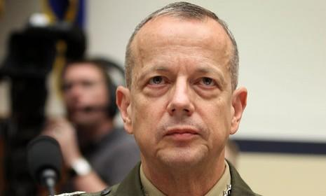 Gen. John Allen testifies on Capitol Hill in March: Allen, who was scheduled to be promoted to head of U.S. European Command, is under investigation for emails he exchanged with Jill Kelley, a woman associated with the uncovering of former CIA Director David Petraeus' affair.