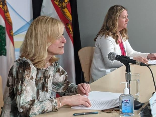 Dr. Heather Morrison and Chief of Nursing Marion Dowling give an update Thursday on the COVID-19 situation facing Prince Edward Island. (Shane Hennessey/CBC - image credit)