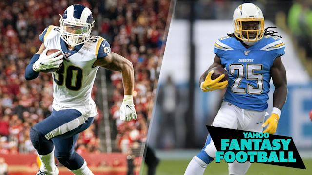 "Former Los Angeles Rams and <a class=""link rapid-noclick-resp"" href=""/nfl/teams/la-chargers/"" data-ylk=""slk:Chargers"">Chargers</a> running backs Todd Gurley and Melvin Gordon have signed with the Atlanta Falcons and Denver Broncos, respectively (Photo credits: Kyle Terada, Kirby Lee-USA TODAY Sports)"