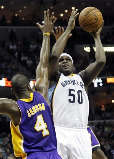 Memphis Grizzlies forward Zach Randolph (50) goes to the basket against Los Angeles Lakers forward Antawn Jamison (4) in the second half of an NBA basketball game on Friday, Nov. 23, 2012, in Memphis, Tenn. The Grizzlies won 106-98. (AP Photo/Lance Murphey)