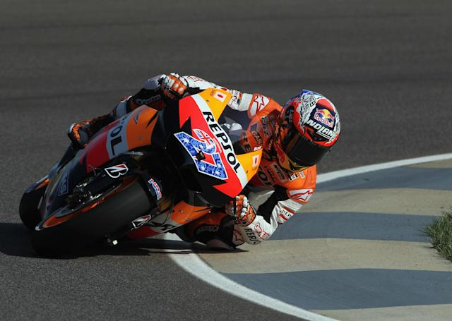 INDIANAPOLIS, IN - AUGUST 27: Casey Stoner #27 of Australia in action during Moto GP practice at Indianapolis Motorspeedway on August 27, 2011 in Indianapolis, Indiana. (Photo by Jamie Squire/Getty Images)