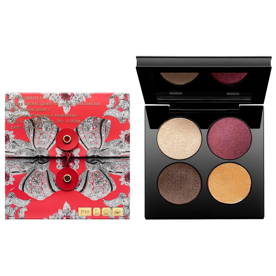 """<p>Go from day to night with the pigmented and shimmery shades of the <a href=""""https://www.popsugar.com/buy/Pat-McGrath-Labs-Blitz-Astral-Quad-Eyeshadow-Palette-497373?p_name=Pat%20McGrath%20Labs%20Blitz%20Astral%20Quad%20Eyeshadow%20Palette&retailer=sephora.com&pid=497373&price=65&evar1=bella%3Aus&evar9=46709081&evar98=https%3A%2F%2Fwww.popsugar.com%2Fphoto-gallery%2F46709081%2Fimage%2F46709593%2FPat-McGrath-Labs-Blitz-Astral-Quad-Eyeshadow-Palette&list1=eye%20shadow%2Cbeauty%20products%2Cmakeup%20palette%2Cbeauty%20by%20popsugar&prop13=api&pdata=1"""" rel=""""nofollow"""" data-shoppable-link=""""1"""" target=""""_blank"""" class=""""ga-track"""" data-ga-category=""""Related"""" data-ga-label=""""https://www.sephora.com/product/blitz-astral-quad-P451138?icid2=products%20grid:p451138"""" data-ga-action=""""In-Line Links"""">Pat McGrath Labs Blitz Astral Quad Eyeshadow Palette</a> ($65).</p>"""