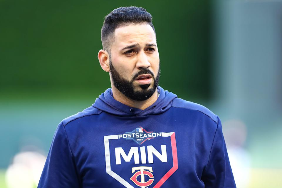 Oct 7, 2019; Minneapolis, MN, USA; Minnesota Twins first baseman Marwin Gonzalez (9) looks on during batting practice before the start of game three of the 2019 ALDS playoff baseball series against the New York Yankees at Target Field. Mandatory Credit: David Berding-USA TODAY Sports