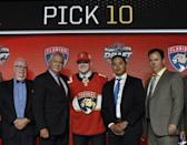June 23, 2017; Chicago, IL, USA; Owen Tippett poses for photos after being selected as the number ten overall pick to the Florida Panthers in the first round of the 2017 NHL Draft at the United Center. Mandatory Credit: David Banks-USA TODAY Sports