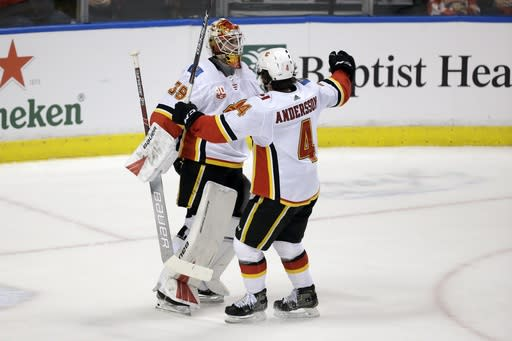 Dube scores twice as Flames beat Stars 3-2 in Game 1