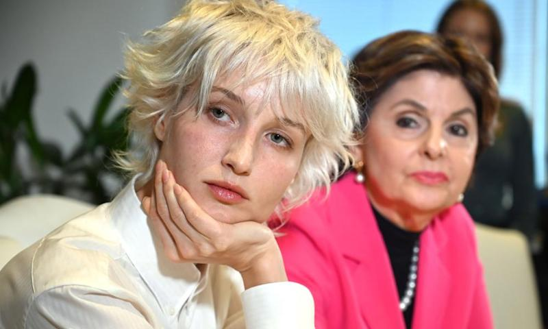 'Jane Doe 15' with her lawyer, Gloria Allred, on Monday.