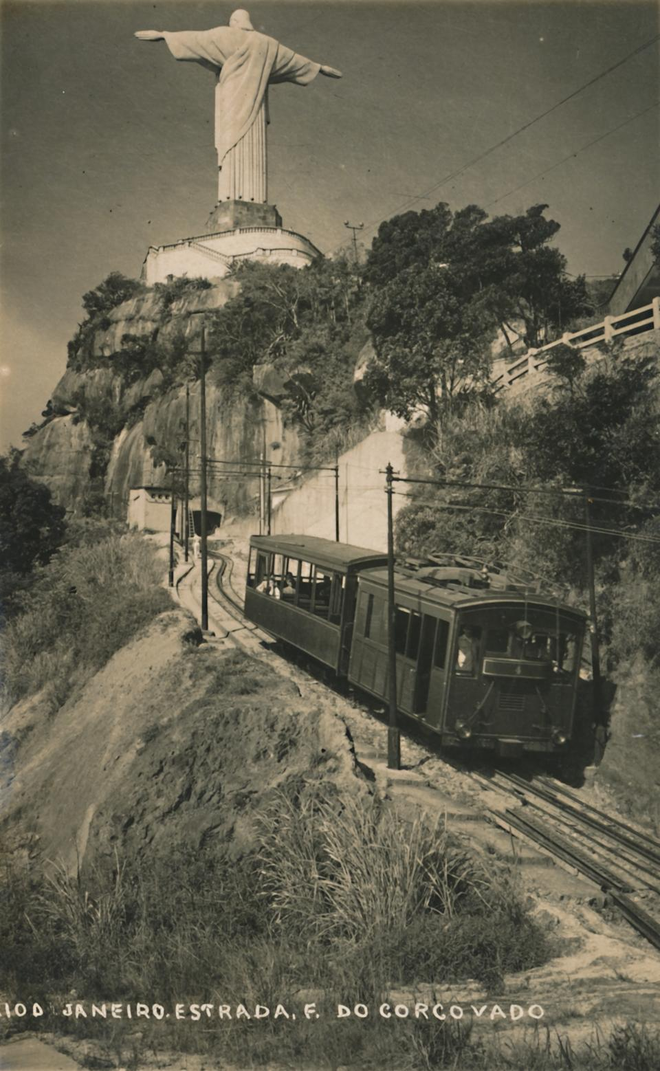 Corcovado Rack Railway, Rio de Janeiro, Brazil. The mountain railway, opened by Emperor Dom Pedro II in 1884, was initially steam-powered and later converted to electricity. The railway takes tourists up to the statue of Christ the Redeemer on the summit of Mount Corcovado. Postcard. Artist Unknown. (Photo by The Print Collector/Heritage Images via Getty Images)