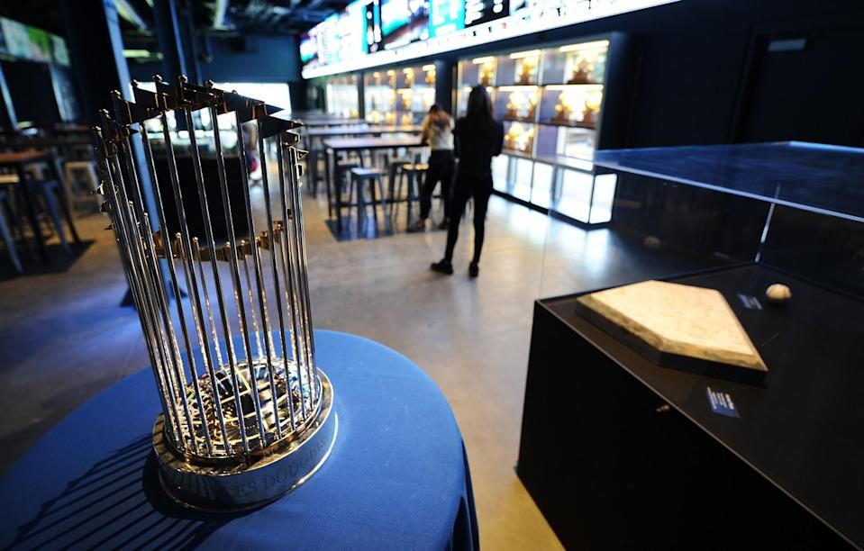 The 2020 World Series Championship trophy is on display in the Gold Glove Bar under the left field bleachers.