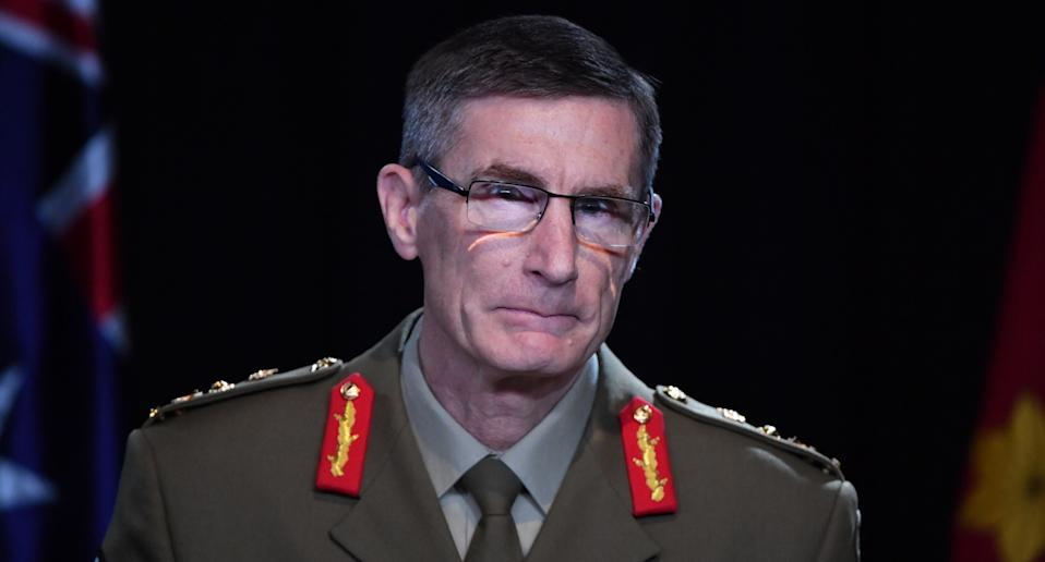 Australian defence chief Angus Campbell at podium in Canberra.