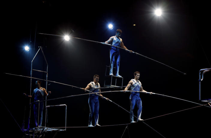 """A Ringling Bros. and Barnum & Bailey high wire act performs during a show Saturday, Jan. 14, 2017, in Orlando, Fla. The Ringling Bros. and Barnum & Bailey Circus will end the """"The Greatest Show on Earth"""" in May, following a 146-year run of performances. Kenneth Feld, the chairman and CEO of Feld Entertainment, which owns the circus, told The Associated Press, declining attendance combined with high operating costs are among the reasons for closing. (AP Photo/Chris O'Meara)"""