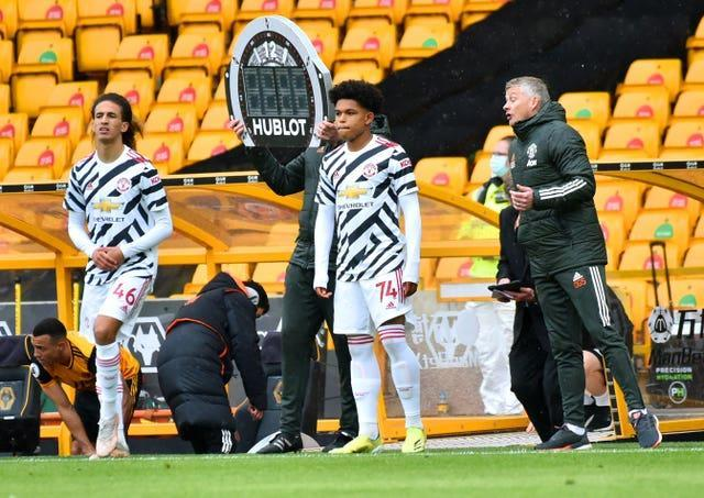 Hannibal Mejbri, left, and Shola Shoretire came on for youthful Manchester United side