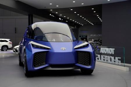 FILE PHOTO: Toyota's electric vehicle (EV) concept RHOMBUS is displayed during the media day for Shanghai auto show