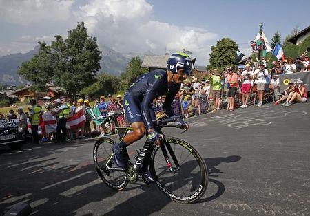 Cycling - Tour de France cycling race - Stage 18 from Sallanches to Megeve, France - 21/07/2016 - Movistar Team rider Nairo Quintana of Colombia cycles during the individual time trial. REUTERS/Juan Medina
