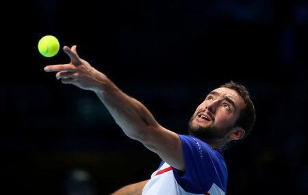 Tennis - ATP World Tour Finals - The O2 Arena, London, Britain - November 14, 2017 Croatia's Marin Cilic in action during his group stage match against USA's Jack Sock REUTERS/Hannah McKay