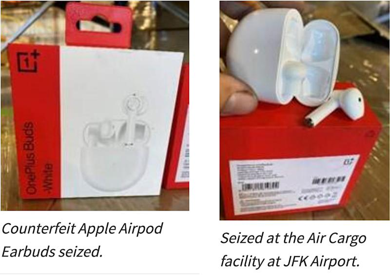 """CBP's photos of the seized """"counterfeit AirPods"""" which are actually OnePlus Buds."""