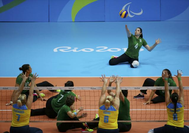 2016 Rio Paralympics - Sitting Volleyball - Women's Bronze Match - Riocentro Pavilion 6 - Rio de Janeiro, Brazil, 17/09/2016. Adria Jesus da Silva (BRA) of Brazil in action. REUTERS/Pilar Olivares FOR EDITORIAL USE ONLY. NOT FOR SALE FOR MARKETING OR ADVERTISING CAMPAIGNS.