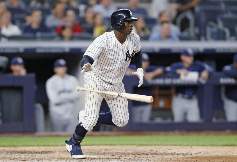 New York Yankees' Didi Gregorius heads to first on a two-run single in the second game of the baseball team's doubleheader against the Tampa Bay Rays on Thursday, July 18, 2019, in New York. (AP Photo/Kathy Willens)