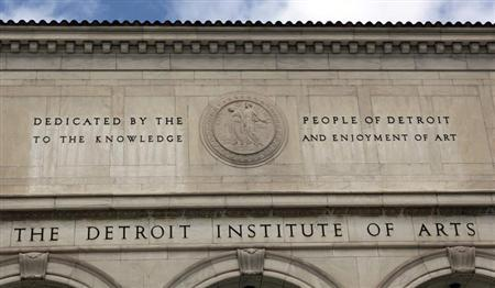 A detail of the facade of the Detroit Institute of Arts is seen in Detroit