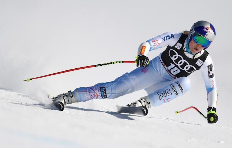 Lindsey Vonn (pictured March 2018) was due to make her comeback from a training crash, but the races at St Anton were snowed out