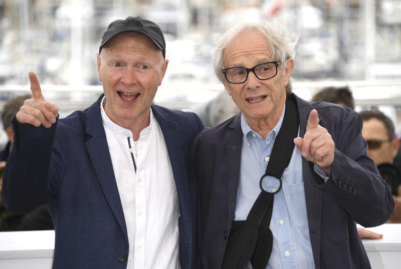 Writer Paul Laverty, left, and director Ken Loach pose for photographers at the photo call for the film 'Sorry We Missed You' at the 72nd international film festival, Cannes, southern France, Friday, May 17, 2019. (Photo by Arthur Mola/Invision/AP)
