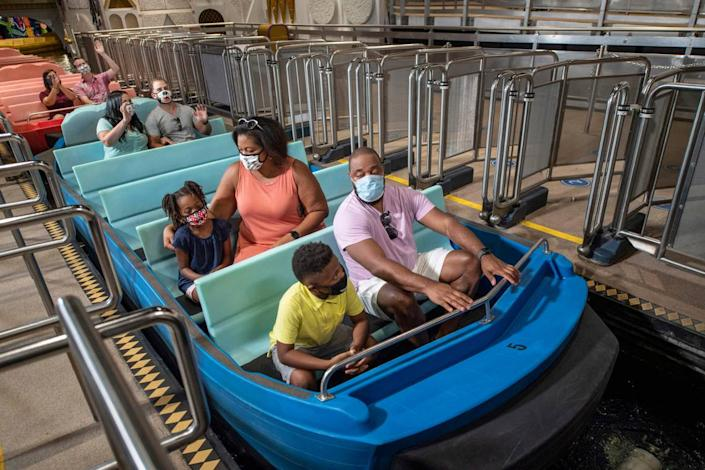 Guests will remain physically distanced while experiencing attractions at Walt Disney World Resort theme parks in Lake Buena Vista, Fla. These new boarding procedures are part of the new health and safety measures being implemented during the parks' phased reopening beginning July 11, 2020. (Kent Phillips, photographer)