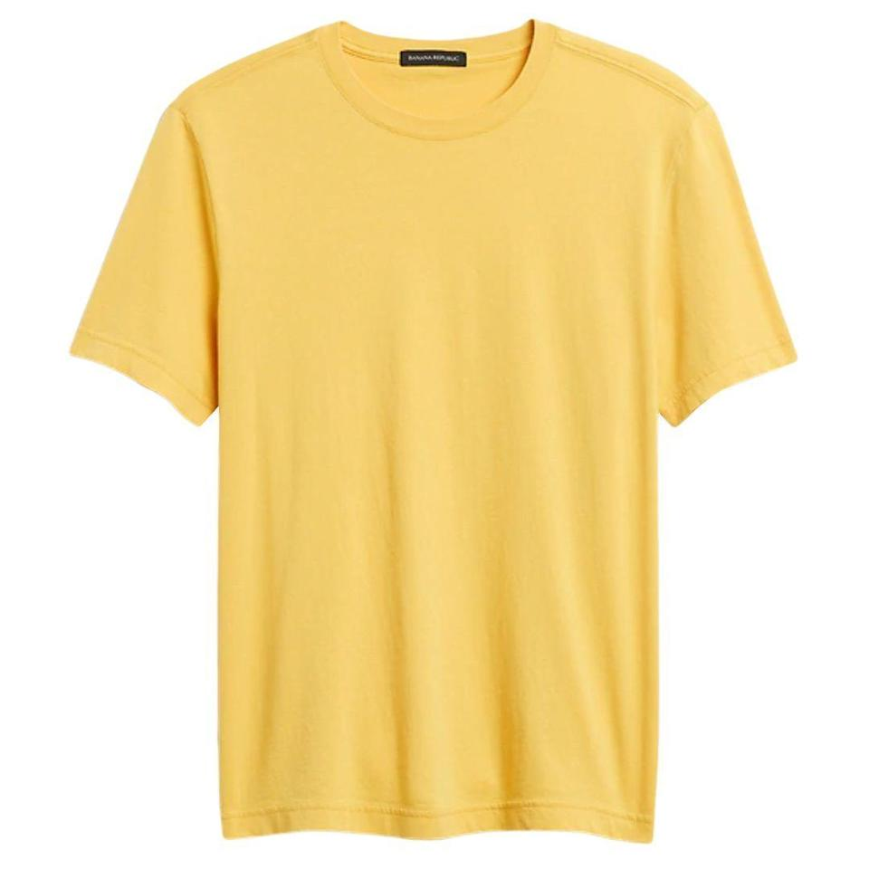 """<p><strong>Banana Republic</strong></p><p>bananarepublic.gap.com</p><p><strong>$34.50</strong></p><p><a href=""""https://go.redirectingat.com?id=74968X1596630&url=https%3A%2F%2Fbananarepublic.gap.com%2Fbrowse%2Fproduct.do%3Fpcid%3D1126987%26pid%3D618039&sref=https%3A%2F%2Fwww.esquire.com%2Fstyle%2Fmens-fashion%2Fg37680729%2Fbest-t-shirts-with-color%2F"""" rel=""""nofollow noopener"""" target=""""_blank"""" data-ylk=""""slk:Shop Now"""" class=""""link rapid-noclick-resp"""">Shop Now</a></p><p>Banana Republic's soft wash tees are as comfortable as they are forgiving. No unsightly lumps with these guys. And they're also made of certified organically grown cotton. With all that, what more do you need? </p>"""