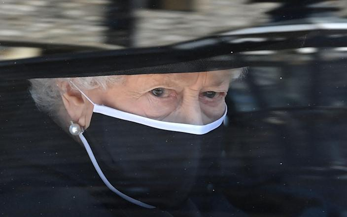 The Queen arrives for the funeral of Prince Philip at Windsor Castle - Leon Neal/AFP