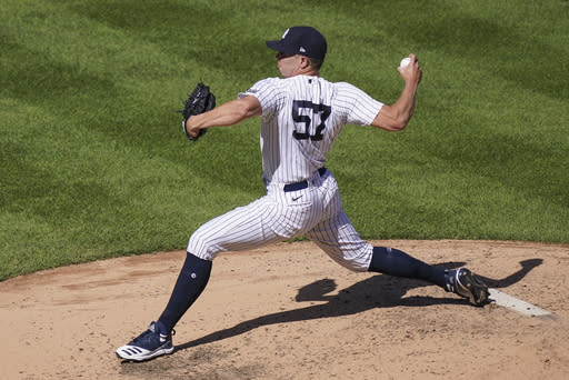 New York Yankees relief pitcher Chad Green throws in the sixth inning of a baseball game against the Baltimore Orioles, Saturday, Sept. 12, 2020, in New York. (AP Photo/John Minchillo)
