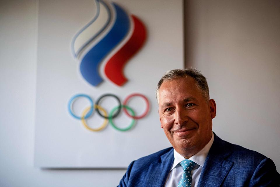 Russia Olympic Committee head Stanislav Pozdnyakov during an AFP interview in June 2021.