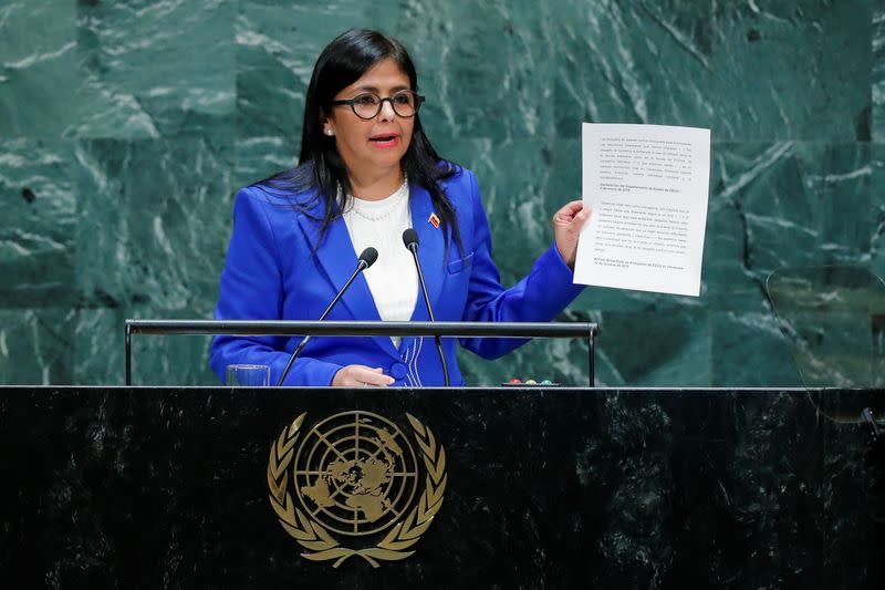 Venezuela's Vice President Rodriguez shows a document as she addresses the 74th session of the United Nations General Assembly at U.N. headquarters in New York City, New York, U.S.