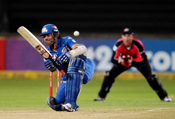 DURBAN, SOUTH AFRICA - OCTOBER 22:  Sachin Tendulkar of Mumbai in action during the Champions League twenty20 match between Sydney Sixers and Mumbai Indians at Sahara Stadium Kingsmead on October 22, 2012 in Durban, South Africa. (Photo by Anesh Debiky / Gallo Images/Getty Images)