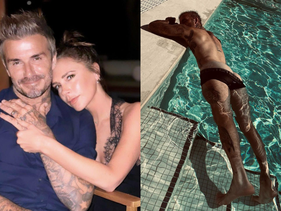 Instagram users are showing their gratitude towards former Spice Girl, Victoria Beckham for sharing a 'cheeky' photo of her husband, David Beckham, by the poolside. — Picture courtesy of Instagram/Victoria Beckham