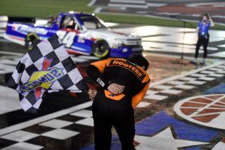 Chase Elliott celebrates after winning the NASCAR Gander Outdoors Trucks Series North Carolina Education Lottery 200. (Photo by Jared C. Tilton/Getty Images)