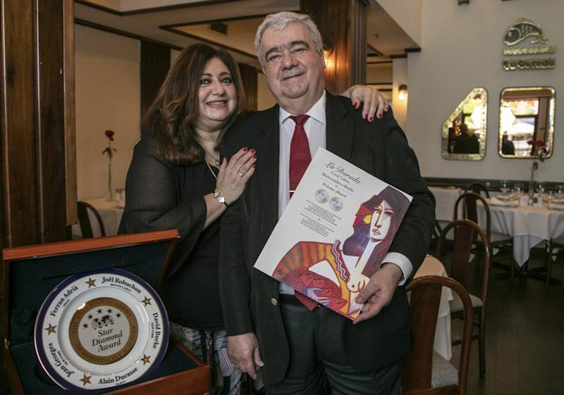 Lilly and Domingo Gándara, co-owners of La Dorada restaurant in Coral Gables. The restaurant is closing in late September due to the economic crisis created by the coronavirus pandemic.