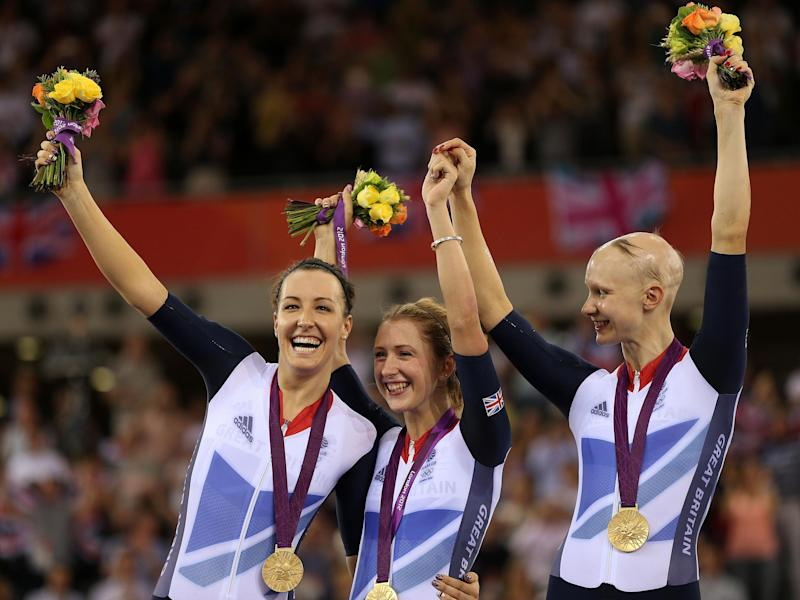 Dani Rowe (L) won a gold medal in the team pursuit in the 2012 Olympics: Getty