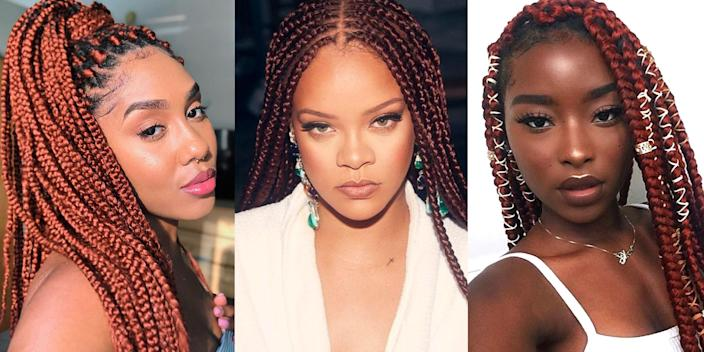 "<p>Box braids will forever be a <a href=""https://www.marieclaire.com/beauty/hair/g34115672/protective-hairstyles/"" rel=""nofollow noopener"" target=""_blank"" data-ylk=""slk:protective style"" class=""link rapid-noclick-resp"">protective style</a> staple in the natural hair community. They're the perfect go-to: low-maintenance, versatile, and last for six to eight weeks. Plus, the style gives you the opportunity to experiment with color—specifically, the bold shade of red. Before you get discouraged by the vibrant color recommendation, hear me out: The spectrum of red is vast. Think tones of copper, wine, burgundy, and orange-red. Basically, a shade for every skin tone. Whether you're ready for a fiery switch-up or looking for a subtle wine tint, we've rounded up the most mesmerizing looks to get you inspired. Ahead, 12 fierce red box braids styles in various lengths and hue intensities. <br></p>"
