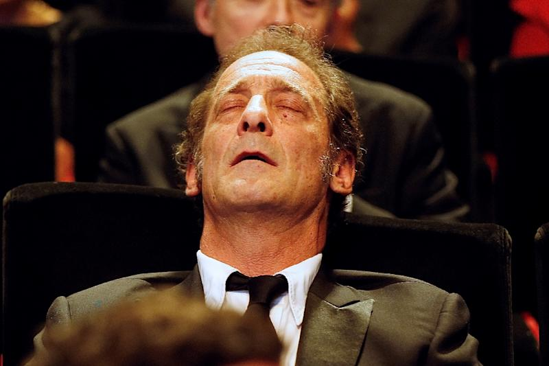 French actor Vincent Lindon reacts after hearing he has won Best Actor at the 68th Cannes Film Festival (AFP Photo/Valery Hache)