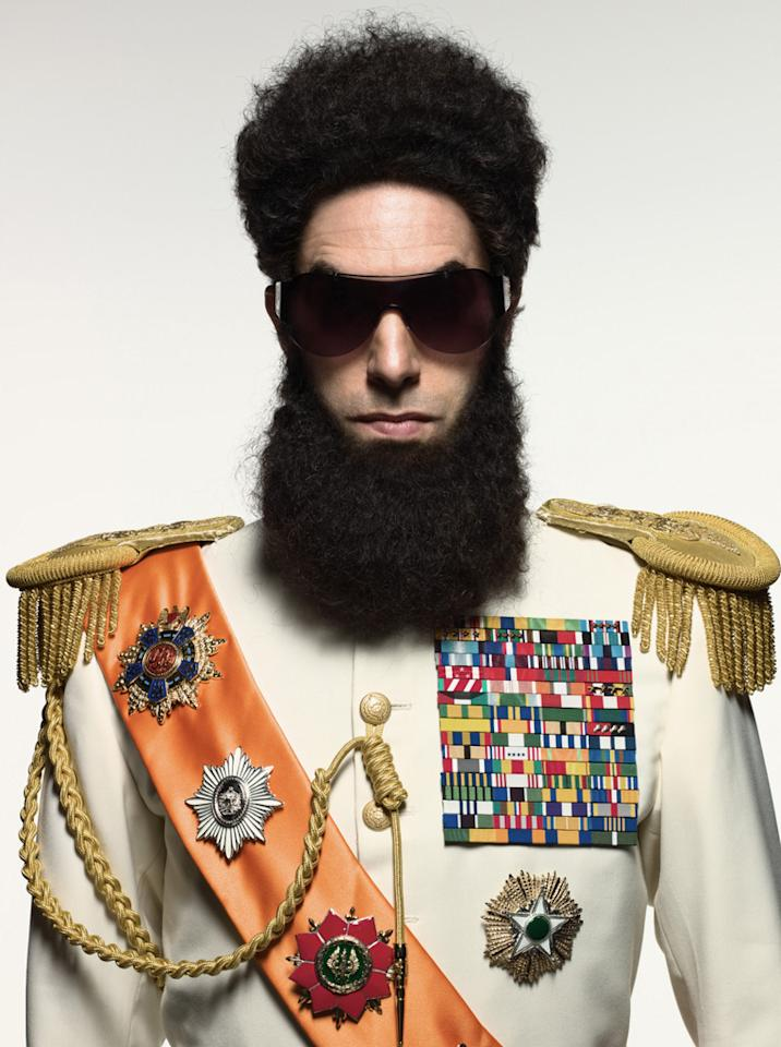 """<a href=""""http://movies.yahoo.com/movie/contributor/1808442126"""">Sacha Baron Cohen</a> in Paramount Pictures' <a href=""""http://movies.yahoo.com/movie/1810189326/info"""">The Dictator</a> - 2012"""