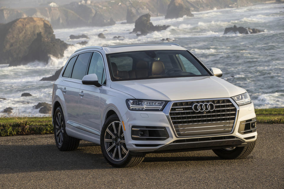 This undated photo provided by Audi shows the 2019 Audi Q7, a midsize three-row luxury SUV. The Q7 boasts impressive technology and safety features plus a quiet and user-friendly interior. (Jim Fets/Audi AG via AP)