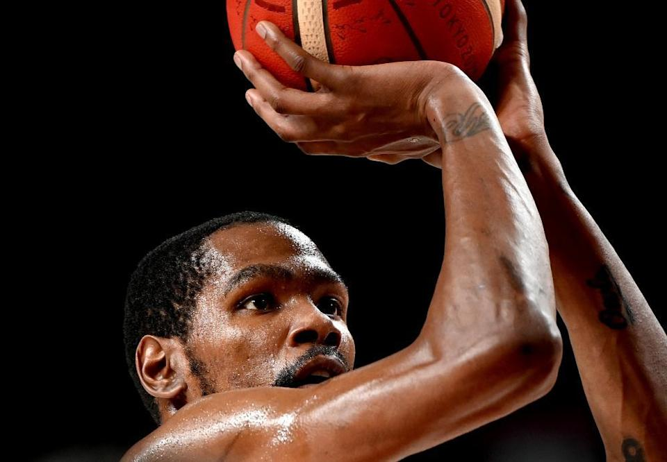 Kevin Durant of the USA shoots from the free-throw line during the quarter final with Spain.